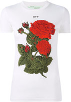 Off-White roses patch T-shirt - women - Cotton/Lyocell - L