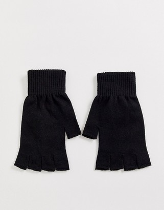 ASOS DESIGN fingerless gloves in black