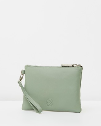 Stitch & Hide - Women's Green Leather bags - Cassie Clutch - Size One Size at The Iconic