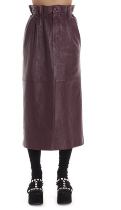 Miu Miu Midi Leather Skirt