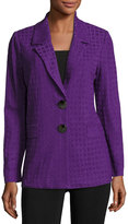 Misook Houndstooth Two-Button Jacket, Bright Purple