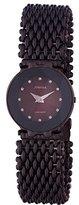 Jowissa Women's J5.191.M Facet Black PVD Coated Stainless Steel Mesh Bracelet Maroon Dial Watch