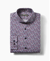 Express fitted floral print cotton dress shirt