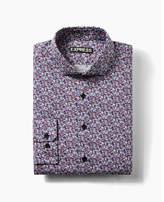 Express Fitted Floral Print Cotton Dress Shirt