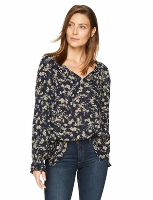 Chaps Women's Long Sleeve Cotton Viscose Crinkle-Shirt
