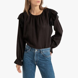 La Redoute Collections Long-Sleeved Ruffled Blouse with Lace Finish