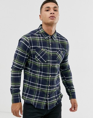 Soul Star fitted check shirt with double check pocket