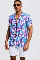 Cobalt Leaf Print Short Sleeve Revere Shirt