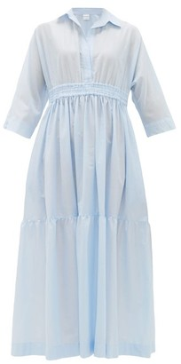 Max Mara Beachwear - Shirred Cotton Shirt Dress - Womens - Light Blue