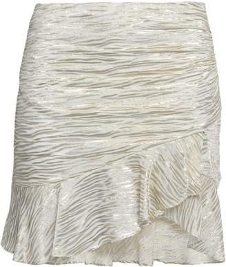 IRO Wrap-effect Metallic Fil Coupe Silk-blend Chiffon Mini Skirt