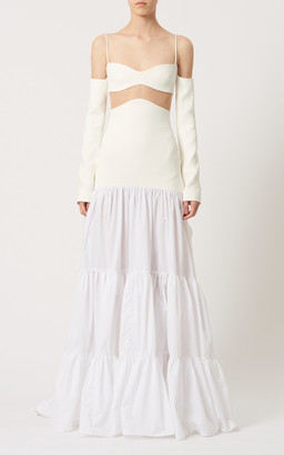 David Koma Tiered Poplin Off-The-Shoulder Gown