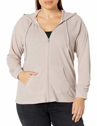 Calvin Klein Women's Tall Plus Size Ruched Long Sleeve Zip Front Hoodie