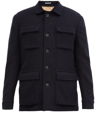 Brunello Cucinelli Single-breasted Cashmere Coat - Navy