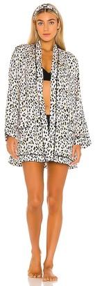 Plush Silk Cheetah Pajama Robe & Headband Set