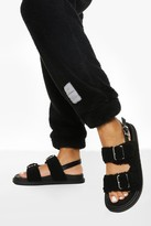 Thumbnail for your product : boohoo Borg Double Strap Sporty Dad Sandal
