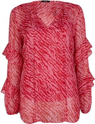Wallis Pink Animal Print Frill Sleeve Blouse