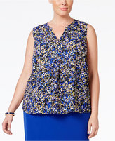Nine West Plus Size Printed V-Neck Top