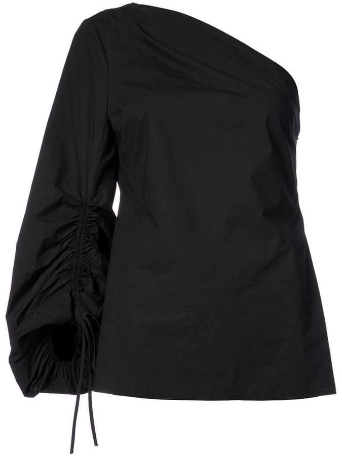 Josie Natori one shoulder blouse