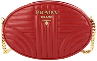 Prada Diagramme Small Oval Bag In Quilted Genuine Soft Leather With Metallic Logo