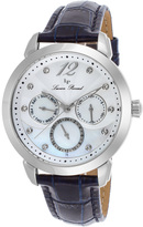 Lucien Piccard Stainless Steel & Black Rivage Leather-Strap Watch - Women