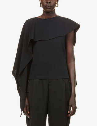 J.W.Anderson Draped scoop-neck cotton-jersey T-shirt