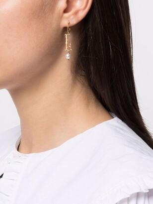Simone Rocha pearl-embellished L letter single earring