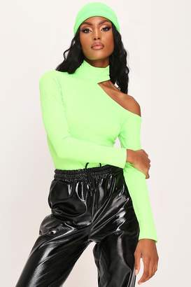 I SAW IT FIRST Neon Green Cut Out Shoulder Jumbo Rib Top