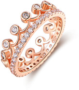 Swarovski Barzel Women's Rings Rose - 18k Rose Gold-Plated Crown Ring With Crystals