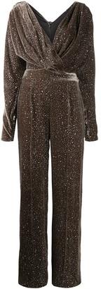 Rhea Costa Silk Long-Sleeve Jumpsuit