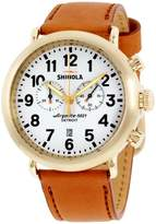 Shinola 20001116 Gold Tone Stainless Steel & Leather Quartz 47mm Mens Watch