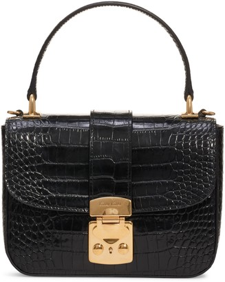 Miu Miu Croc Embossed Leather Top Handle Bag