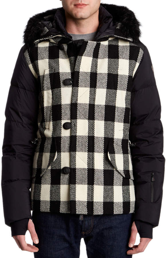 Moncler Montrond Plaid Down Coat