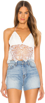 superdown Solana Lace Halter Top