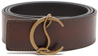 Christian Louboutin Logo-buckle Leather Belt - Brown