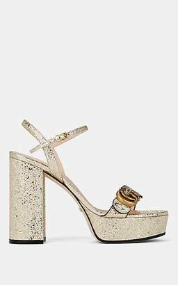Gucci Women's Marmont Leather Ankle-Strap Sandals - Gold