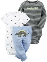 Carter's Baby Boy Graphic Bodysuit, Print Bodysuit & Embroidered Pants Set