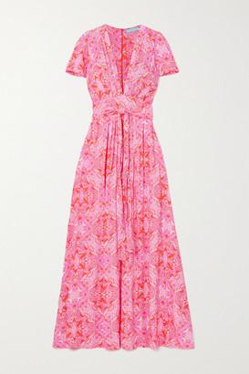 Melissa Odabash Lou Belted Floral-print Voile Maxi Dress