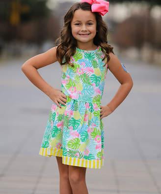 Annloren AnnLoren Girls' Casual Dresses LOLA - Green & Yellow Multicolor Tropical Floral Pleated A-Line Dress - Toddler & Girls