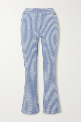 MM6 MAISON MARGIELA Ribbed-knit Flared Pants - Blue