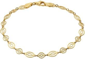 Primavera Gold Over Sterling Silver Round Diamond Cut Oval Chain Link Bracelet