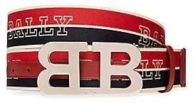 Bally Men's B Buckle Striped Reversible Logo Belt