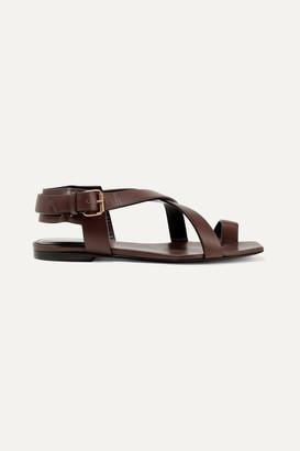 Saint Laurent Hiandra Leather Sandals - Dark brown