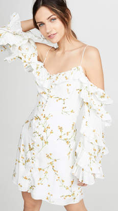 Divine Heritage Cold Shoulder Ruffle Sleeve Button Up Mini Dress