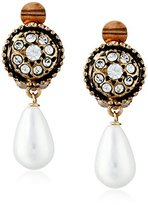 Azaara Vintage Button Majorca Pearl Drops Clip-On Earrings