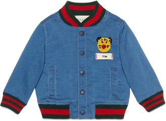 Gucci Kids Baby jersey denim bomber jacket with patch
