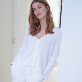 The White Company Organic Cotton Jersey Button-Through Top, White, 14