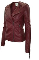 Timestory Ever77 Women's Classic Asymmetrical Zip Placket Faux Leather Jacket/TJ1031CI-,M
