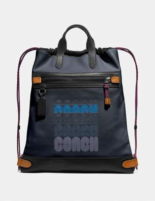 Coach Academy Drawstring Backpack In Colorblock
