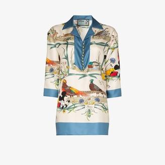 Gucci X Disney Mickey floral silk pyjama shirt
