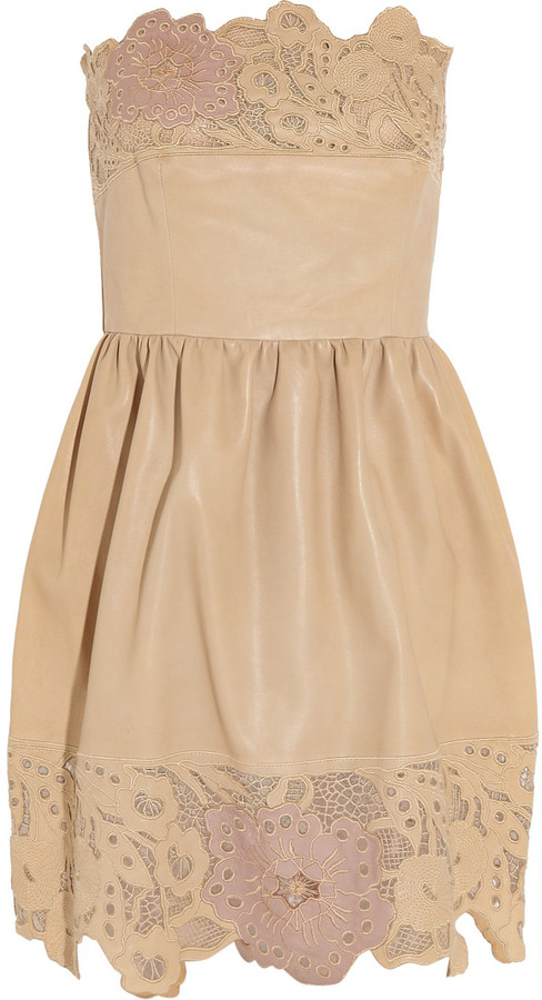 Valentino Broderie anglaise leather dress